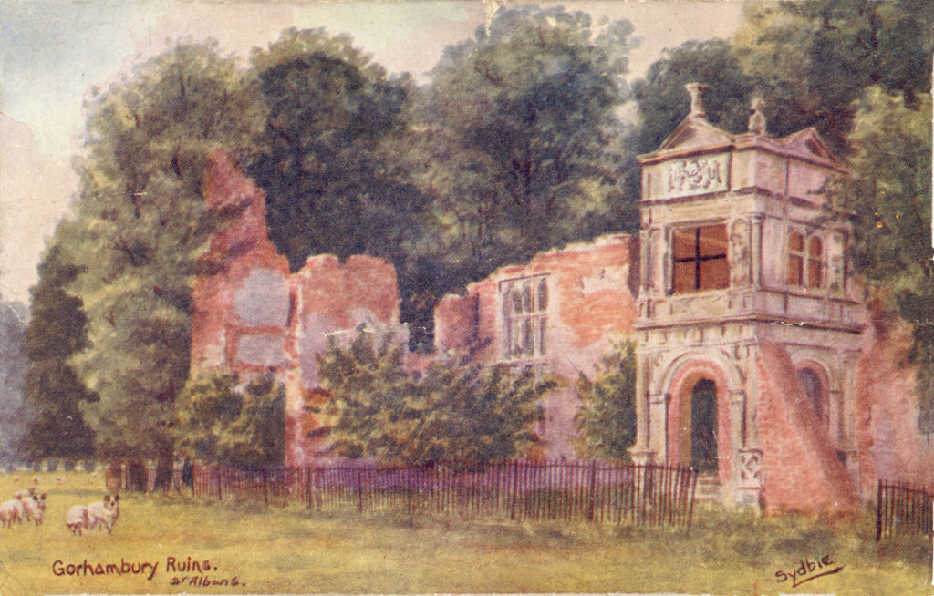 Gorhambury, St ALbans. Rins of old house, painted by Sydbie