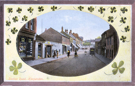 "Station Road, Harpenden - post card published by ""LN"" in the Castle Series"