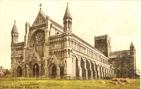 St Albans Abbey with sheep grazing - circa 1900 - published later by Photochrom