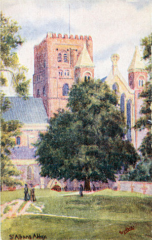 Watercolour of St Albans Abbey, by Sydbie, post card in Sydbie Series