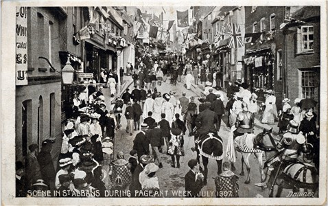 Text: Scene in St Albans during Pageant Week, July 1907 - Publisher: Downer - Date: July 1907