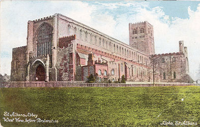 West View od St Albans Abbey before restoration  - Alpha Postcards