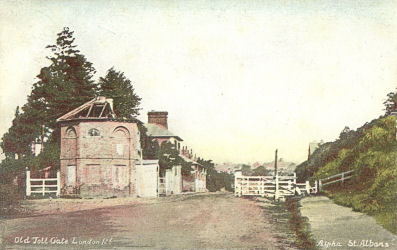 The Toll Gate, London Road, St Albans, circa 1890 - Post Card by Alpha, St Albans