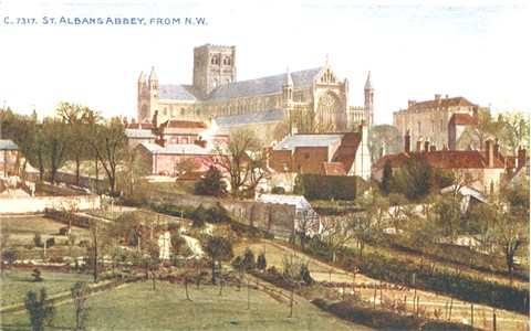 Title: St ALbans Abbey, From N.W. - Publisher: Photochrom Co Ltd C7317  - circa 1910