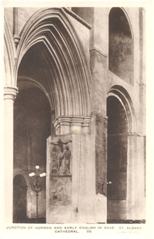 Title:Junction of Norman and Early English in Nave, St Albans Cathedral - Publisher: Lilywhite No 95