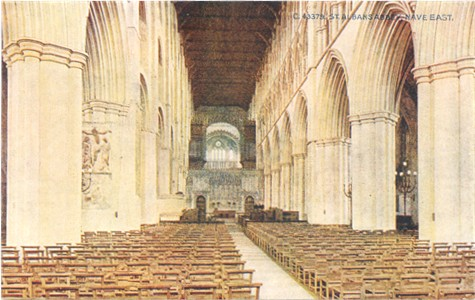 Title: St Albans Abbet, Nave East - Publisher: Photochrom Co Ltd, No 43379  - no date info