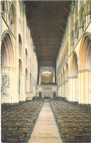 Title: The Nave, St Albans Abbey - Publisher: Boots Cash Chemist, Pelham series - posted 1908
