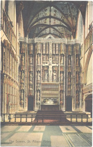 Title: The Screen, St Albans Abbey - Publishers: Boots Cash Chemists, Pelham Series - posted 1910