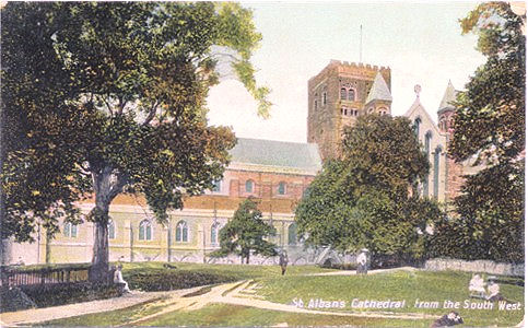 Title: St Albans Cathedral from the South West - Publisher: Tudor Rose Series - Posted 1909 but earlier back