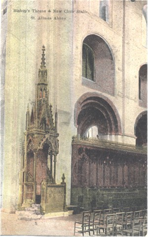 Titke: Bishop's Throne & New Choir Stalls, St Albans Abbey - Publisher:  boots Cash CHemists Pelham Series - Posted 1908?