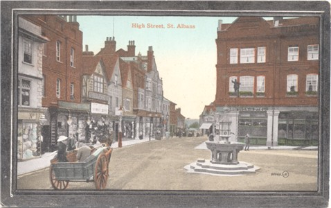 Text: High Street, St Albans - Publisher: Valentine's Series Crystoleum  JV 60066 - posted 1914