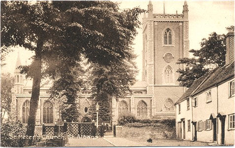 "Title: St Peter's Church, St Albans - Publisher: Boots ""Pelham"" Series - unused - date circa 1920?"
