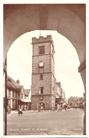 Title: Clock Tower, St Albans - Publisher: Valentines - posted 1951