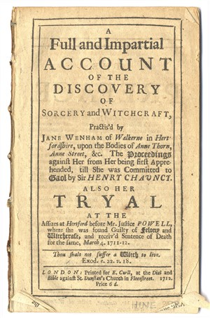 Front page of text about Jane Wenham,, the Witch or Walkern