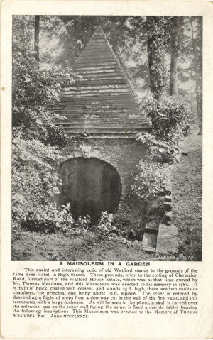 Mausoleum in memory of Mr THomas Meadows, Watford - Post Card by Downer