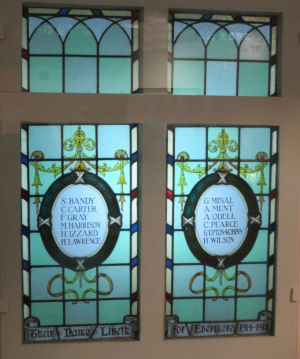 First World War Memorial Window from Folly Chapel, Wheathampstead, as displayed in St Albans Museum, June-November 2014.