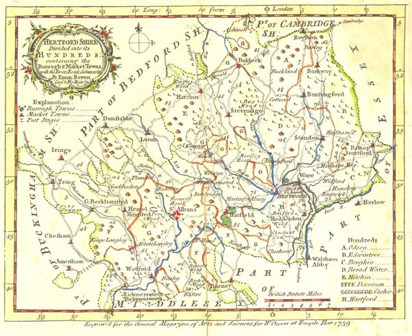 Hertfordshire Map, Bowen, 1759